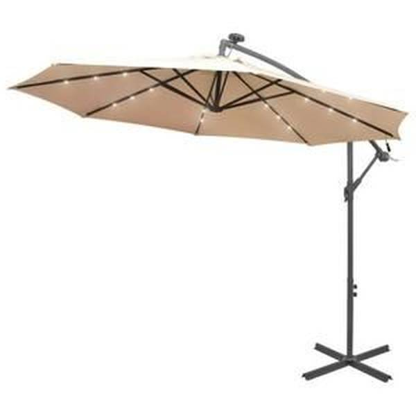 Happy Garden Pack Parasol Déporté Carré 3x3m Inclinable Gris + Bâche